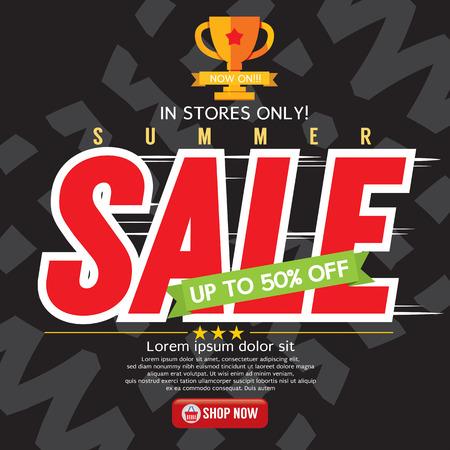 discount store: Summer Sale Banner Vector Illustration
