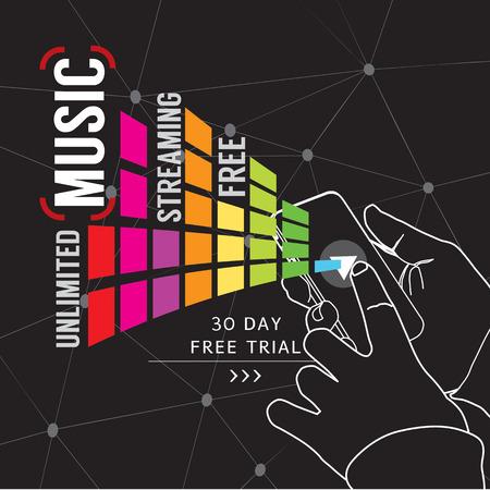 Unlimited Music Streaming Illustration 向量圖像