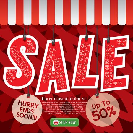 half: Sale Up To 50 Percent Illustration