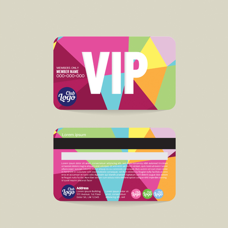 members: Front And Back VIP Member Card Template Vector Illustration
