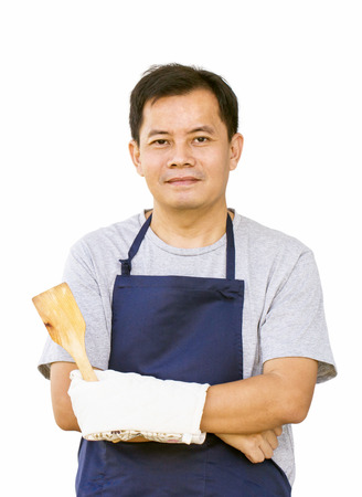 Asian Man With Frying Tool And Cooking Glove