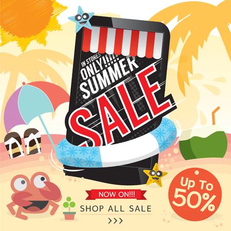 business travel: Summer Sale Banner Vector Illustration