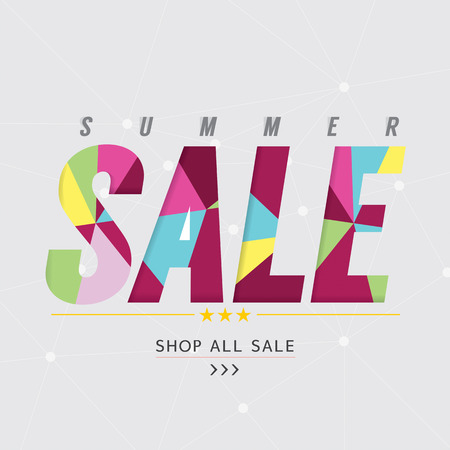 retail sales: Summer Sale Banner Vector Illustration