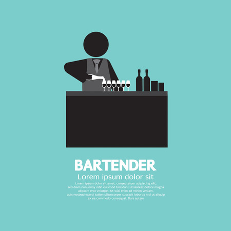 bar counter: Black Symbol Bartender Vector Illustration Illustration
