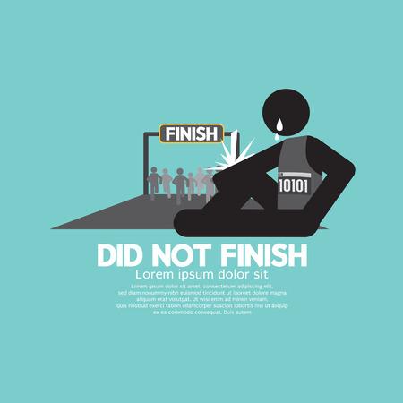 no correr: Black Symbol Did Not Finish Vector Illustration Vectores