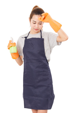 clean home: Asian Women Housewife Tired With Cleaning Cloth And Spray Bottle  in protective Isolated On White Background.