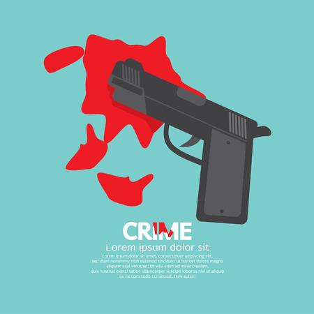 homicide: Bloody Gun, Criminal Concept Vector Illustration