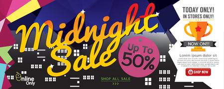 midnight: Midnight Sale 1500x600 pixel Vector Illustration