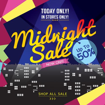 midnight: Midnight Sale Banner Vector Illustration