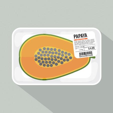 half: Papaya Pack Vector Illustration