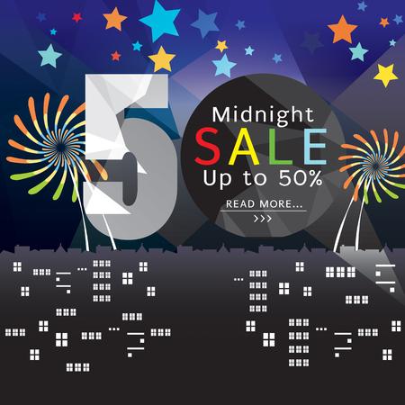 Banner illustrazione vettoriale Midnight Sale