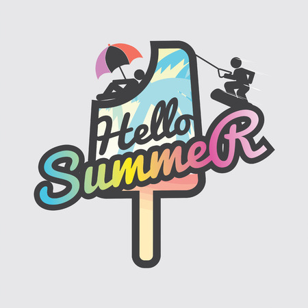 popsicle: Hello Summer Popsicle Vector Illustration