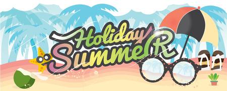 frutas tropicales: Vacaciones de verano Banner vacaciones de verano concepto de vector Ilustración 1500x600 px