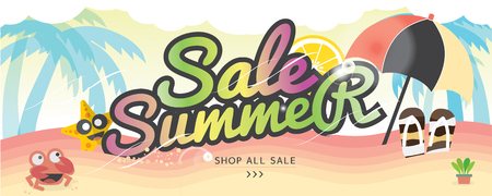 wide: Summer Holiday Banner Summer Vacation Concept Vector Illustration 1500x600 px