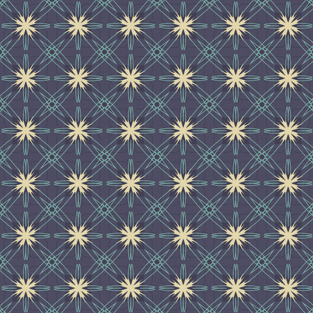 navy blue background: Vintage Flowers Graphic On Navy Blue Background Pattern Vector Illustration Illustration