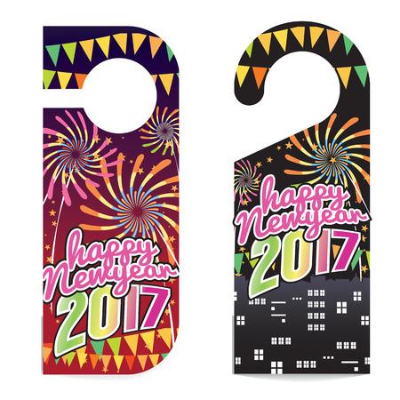 door hanger: Happy New Year 2017 Door Hanger Vector Illustration Illustration