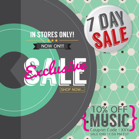 off the record: Vinyl Exclusive Sale 7 Days Only For Music Lover Promotion Banner Template Vector Illustration Illustration