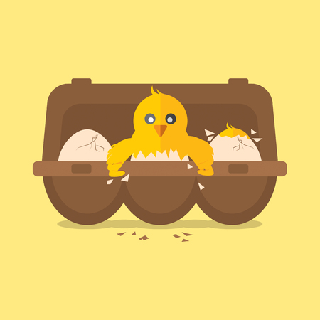 cute baby: Single New Born Chick Hit The Egg Vector Illustration
