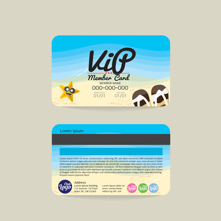 flipflop: Front And Back VIP Member Card Template Sea And Beach Concept Vector Illustration Illustration