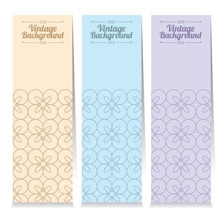 line pattern: Vertical Banner Set Of Three Vintage Graphic Theme Vector Illustration Illustration
