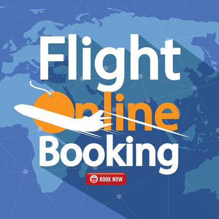 flight: Flight Online Booking For Sale Banner Vector Illustration