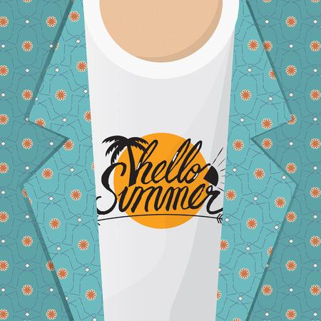 summer fruits: Hello Summer Shirt Vector Illustration