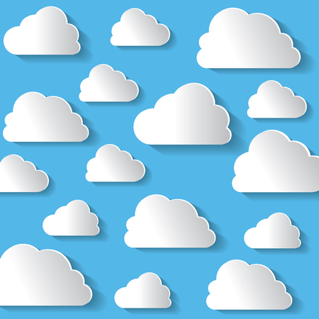 white clouds: Many White Clouds On Blue Background Vector Illustration