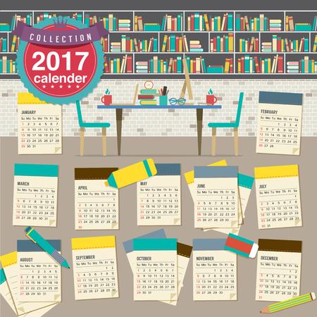 calendario escolar: Calendario 2017 Inicia la ilustración del concepto de vector Domingo de la Educación Vectores