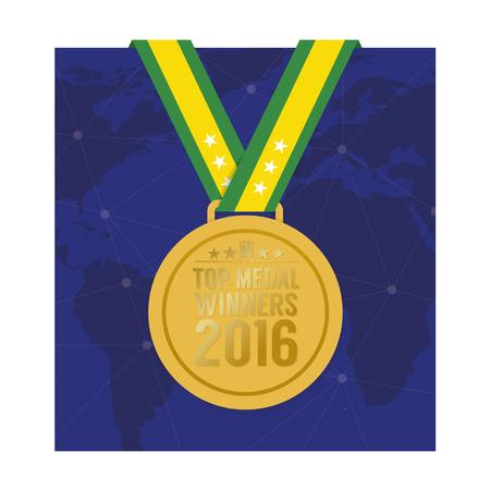 games hand: Top Medal Winner 2016 Sport Competition Concept Vector Illustration