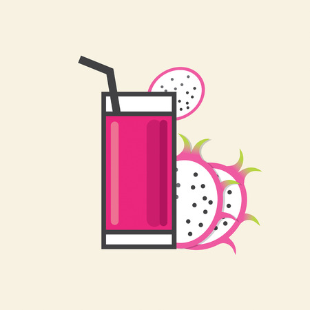 refreshment: Healthy Refreshment A Glass Of Dragon Fruit Juice Vector Illustration