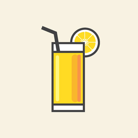 refreshment: Healthy Refreshment A Glass Of Yellow Lemon Juice Vector Illustration