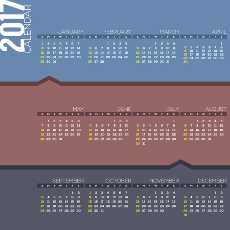 calender: 2017 Printable Calendar Starts Sunday Vector Illustration