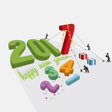 constructing: Human Constructing New Year 2017 Vector Illustration