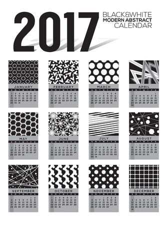 starts: Modern Abstract 2017 Printable Calendar Starts Sunday Black And White Graphic Vector Illustration Illustration
