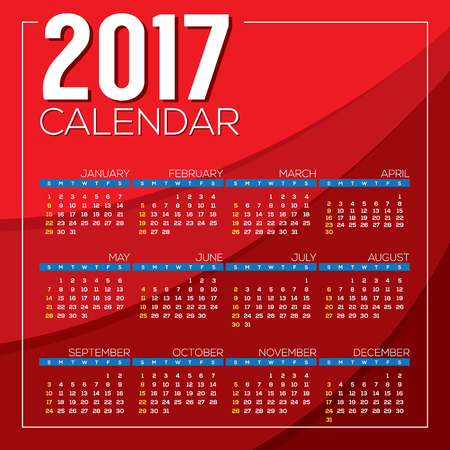 starts: Modern Abstract 2017 Printable Calendar Starts Sunday Red Background Vector Illustration