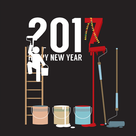 constructing: Person Constructing New Year 2017 Vector Illustration