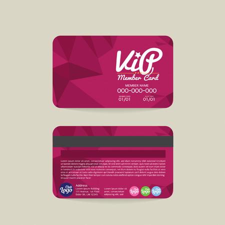Carte avant et arrière géométrique moderne Violet Membre VIP Modèle Illustration Vecteur Vecteurs
