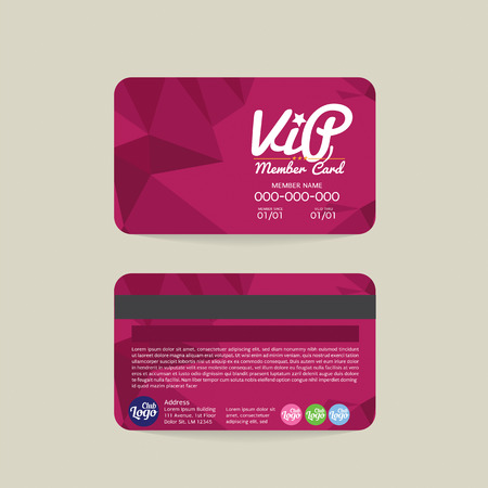 members: Front And Back Modern Geometric Purple VIP Member Card Template Vector Illustration Illustration