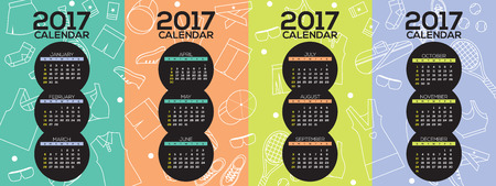 printable: 2017 Printable Calendar Starts Sunday Tennis Graphic Vector Illustration