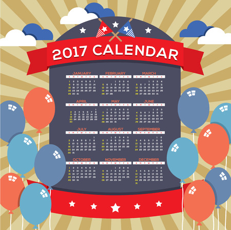 starts: Modern Abstract 2017 Printable Calendar Starts Sunday Celebrating 4th of July United States Independence Day Concept Vector Illustration Illustration