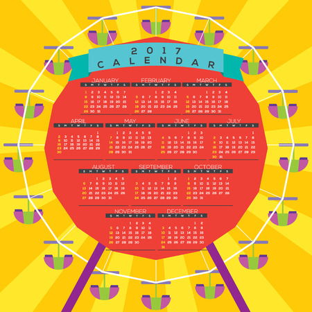 printable: Colorful Ferris Wheel 2017 Printable Calendar Starts Sunday Vector Illustration