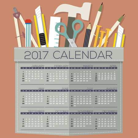 starts: 2017 Printable Calendar 12 Months Starts Sunday DIY of Handcraft�??s Tool Concept Vector Illustration