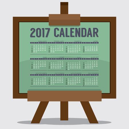 calendario escolar: 2017 imprimir el calendario de 12 meses comienza el domingo. El arte o la ilustración de Estudio del concepto de vector Vectores