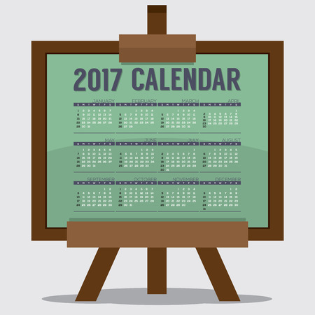 printable: 2017 Printable Calendar 12 Months Starts Sunday. Art or Study Concept Vector Illustration
