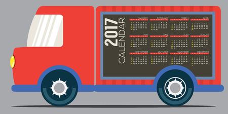 months: 2017 Printable Calendar 12 Months Starts Sunday. Colorful Truck' Side Vector Illustration Illustration