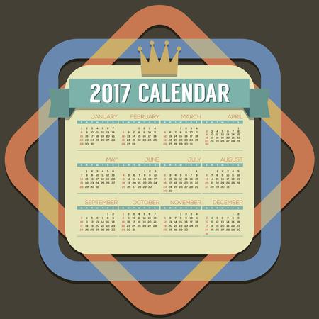 months: 2017 Printable Calendar 12 Months Starts Sunday Vector Illustration