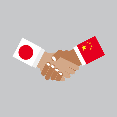 china business: Business Handshake Vector Illustration. Japan And China