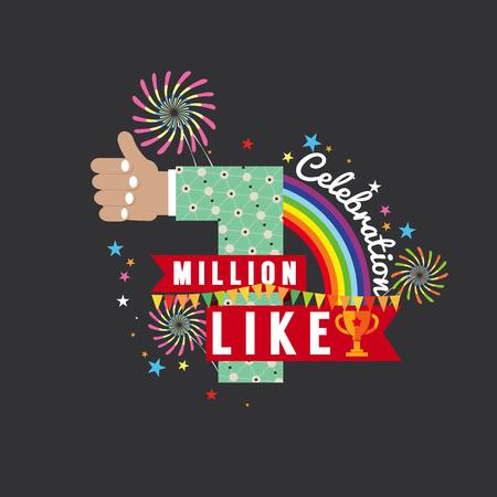 MILLION: One Million Likes Celebration Vector Illustration Illustration