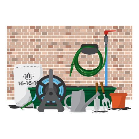 garden wall: Garden Equipment In Front Of Brick Wall Vector Illustration Illustration