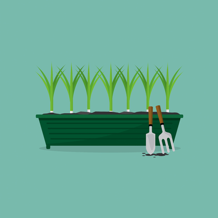 root vegetables: Green Onions Cultivating Vector Illustration Illustration
